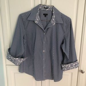 Talbots blue and white pinstripe blouse
